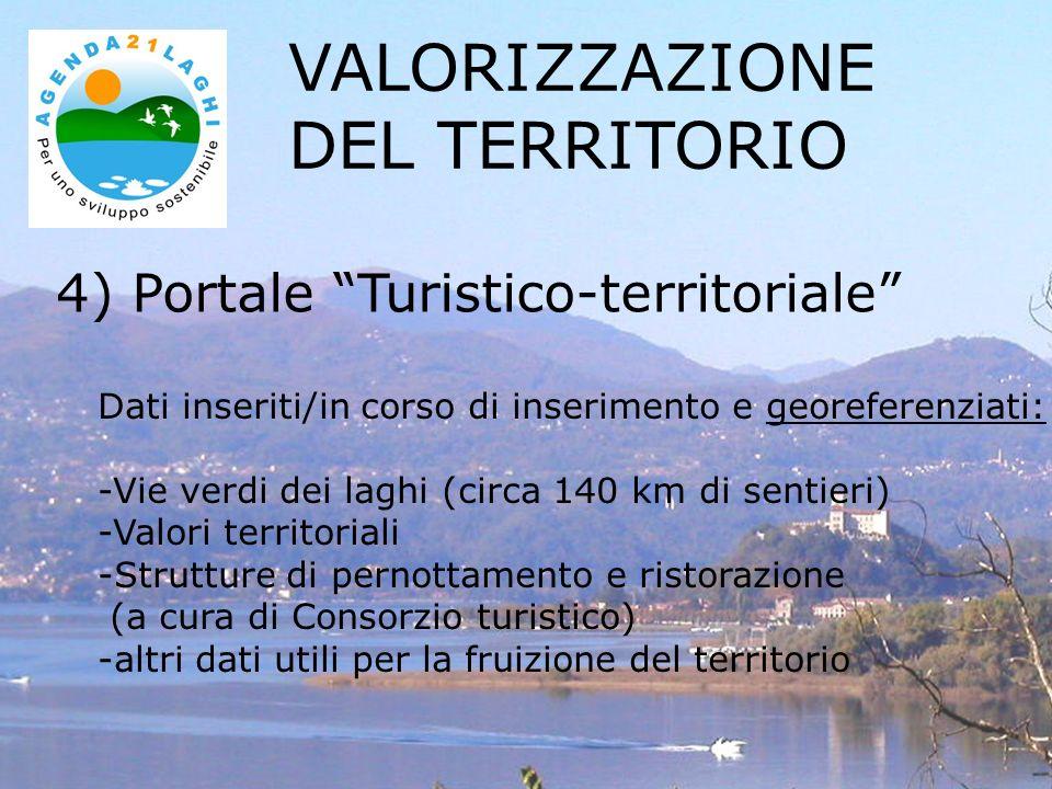 4) Portale Turistico-territoriale VALORIZZAZIONE DEL TERRITORIO Dati inseriti/in corso di inserimento e georeferenziati: -Vie verdi dei laghi (circa 1