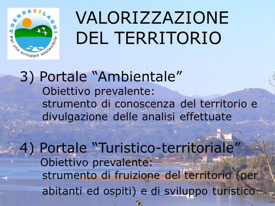 3) Portale Ambientale Obiettivo prevalente: strumento di conoscenza del territorio e divulgazione delle analisi effettuate 4) Portale Turistico-territoriale Obiettivo prevalente: strumento di fruizione del territorio (per abitanti ed ospiti) e di sviluppo turistico VALORIZZAZIONE DEL TERRITORIO