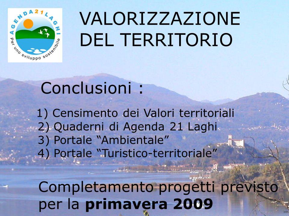 Conclusioni : VALORIZZAZIONE DEL TERRITORIO 1) Censimento dei Valori territoriali 2) Quaderni di Agenda 21 Laghi 3) Portale Ambientale 4) Portale Turistico-territoriale Completamento progetti previsto per la primavera 2009