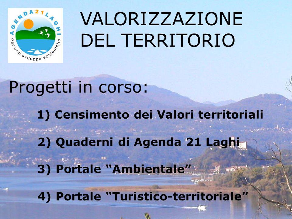 Progetti in corso: VALORIZZAZIONE DEL TERRITORIO 1) Censimento dei Valori territoriali 2) Quaderni di Agenda 21 Laghi 3) Portale Ambientale 4) Portale Turistico-territoriale