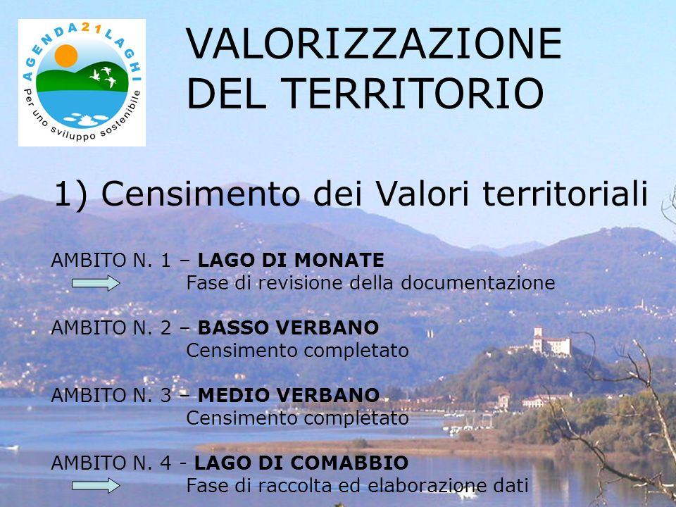1) Censimento dei Valori territoriali VALORIZZAZIONE DEL TERRITORIO AMBITO N. 1 – LAGO DI MONATE Fase di revisione della documentazione AMBITO N. 2 –
