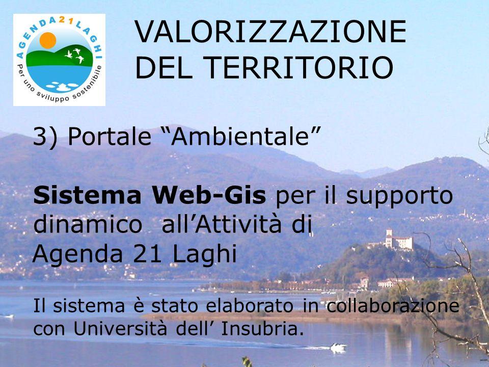 3) Portale Ambientale Sistema Web-Gis per il supporto dinamico allAttività di Agenda 21 Laghi Il sistema è stato elaborato in collaborazione con Università dell Insubria.