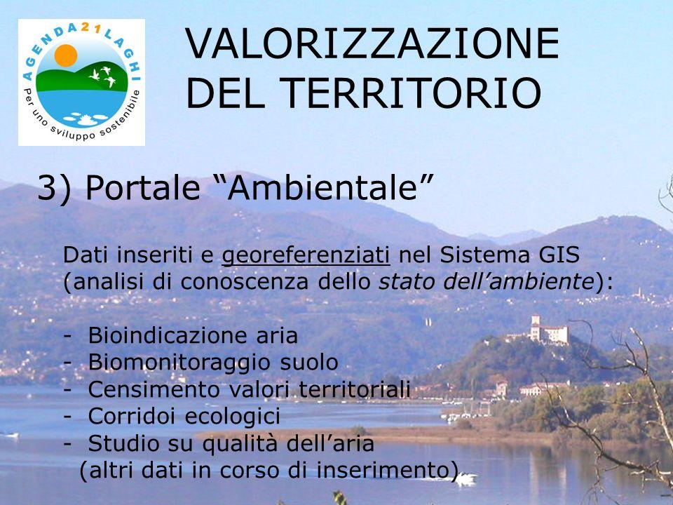 3) Portale Ambientale VALORIZZAZIONE DEL TERRITORIO Dati inseriti e georeferenziati nel Sistema GIS (analisi di conoscenza dello stato dellambiente):
