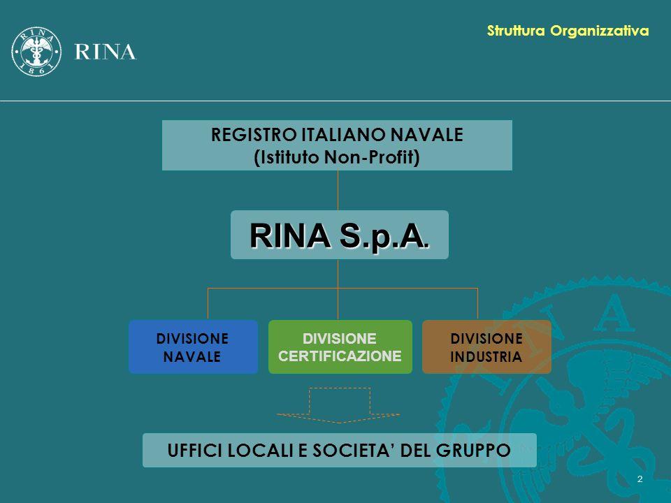 2 RINA S.p.A. DIVISIONE INDUSTRIA DIVISIONE NAVALE DIVISIONE CERTIFICAZIONE UFFICI LOCALI E SOCIETA DEL GRUPPO REGISTRO ITALIANO NAVALE (Istituto Non-