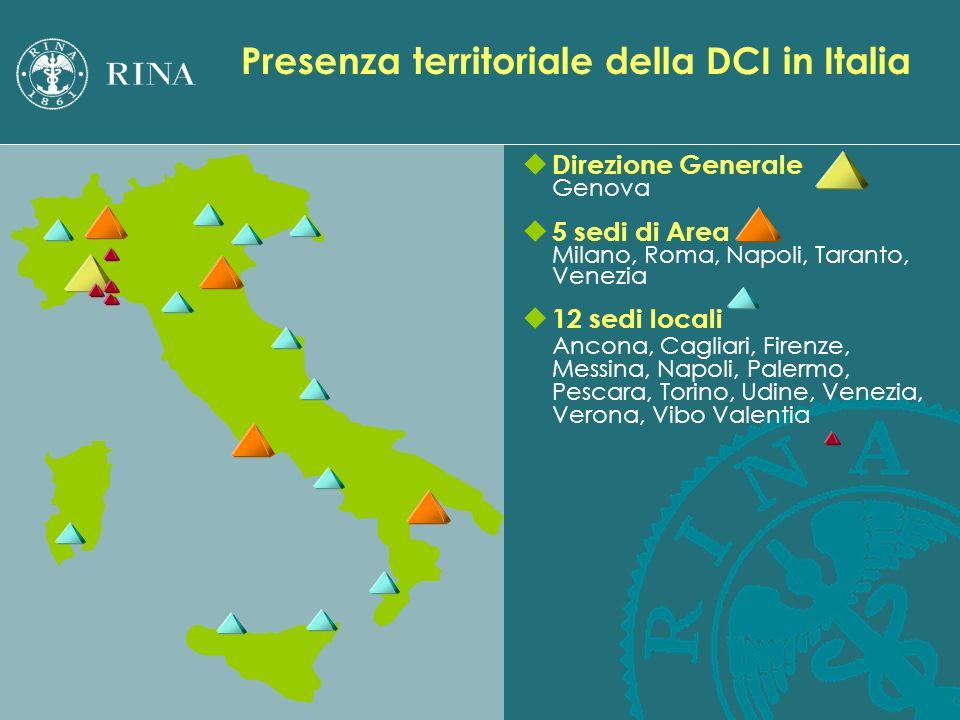 u Direzione Generale Genova u 5 sedi di Area Milano, Roma, Napoli, Taranto, Venezia u 12 sedi locali Ancona, Cagliari, Firenze, Messina, Napoli, Paler