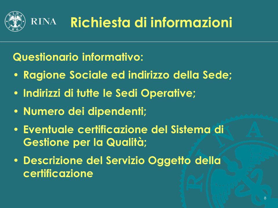 8 Richiesta di informazioni Questionario informativo: Ragione Sociale ed indirizzo della Sede; Indirizzi di tutte le Sedi Operative; Numero dei dipend