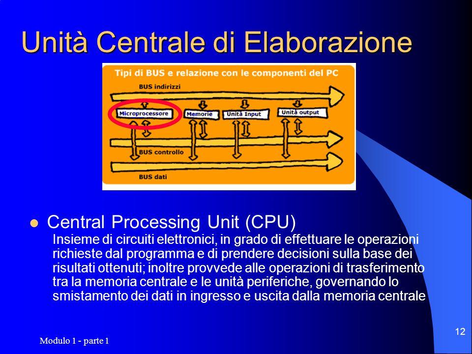 Modulo 1 - parte 1 12 Unità Centrale di Elaborazione Central Processing Unit (CPU) Insieme di circuiti elettronici, in grado di effettuare le operazio
