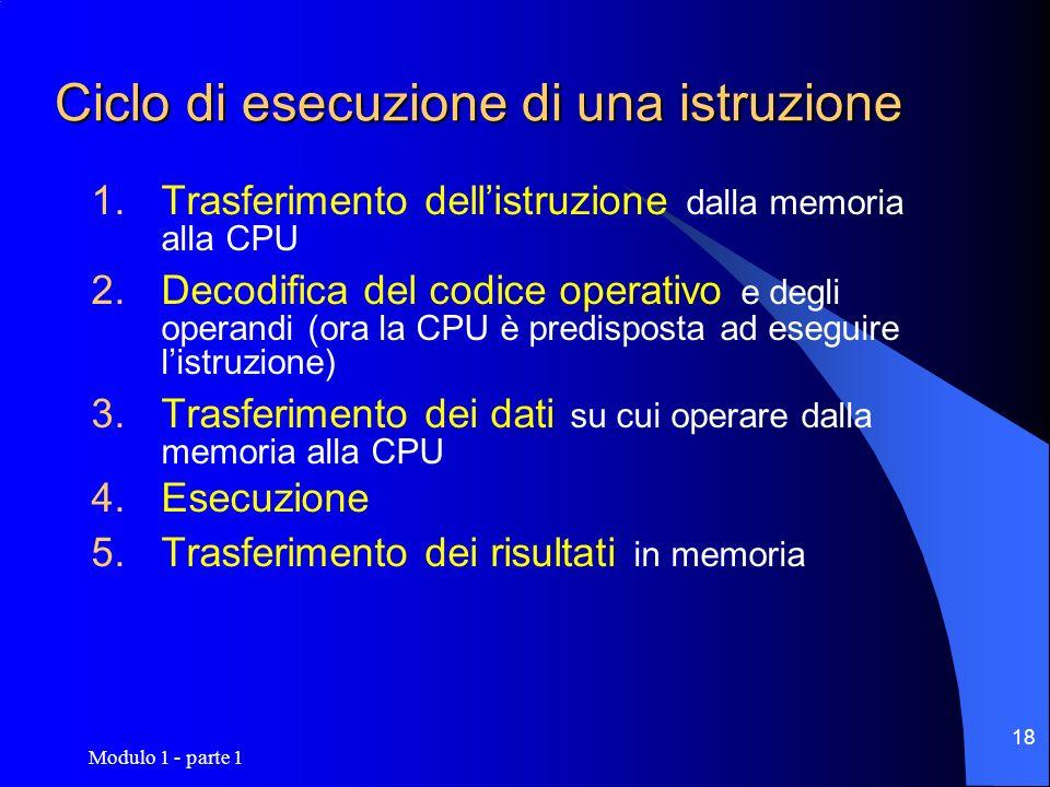 Modulo 1 - parte 1 18 Ciclo di esecuzione di una istruzione Trasferimento dellistruzione dalla memoria alla CPU Decodifica del codice operativo e degl