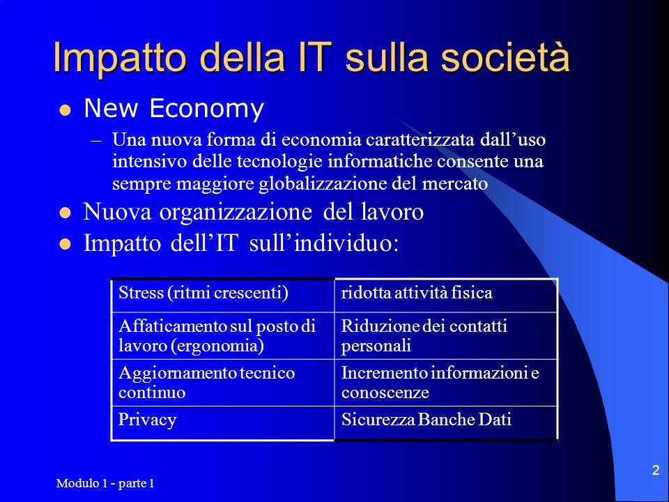 Modulo 1 - parte 1 2 New Economy –Una nuova forma di economia caratterizzata dalluso intensivo delle tecnologie informatiche consente una sempre maggi