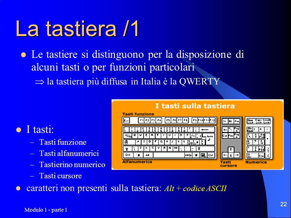 Modulo 1 - parte 1 22 La tastiera /1 Le tastiere si distinguono per la disposizione di alcuni tasti o per funzioni particolari la tastiera più diffusa