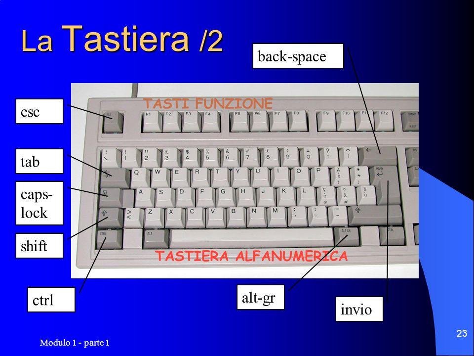 Modulo 1 - parte 1 23 La Tastiera /2 shift caps- lock ctrl tab esc back-space alt-gr invio