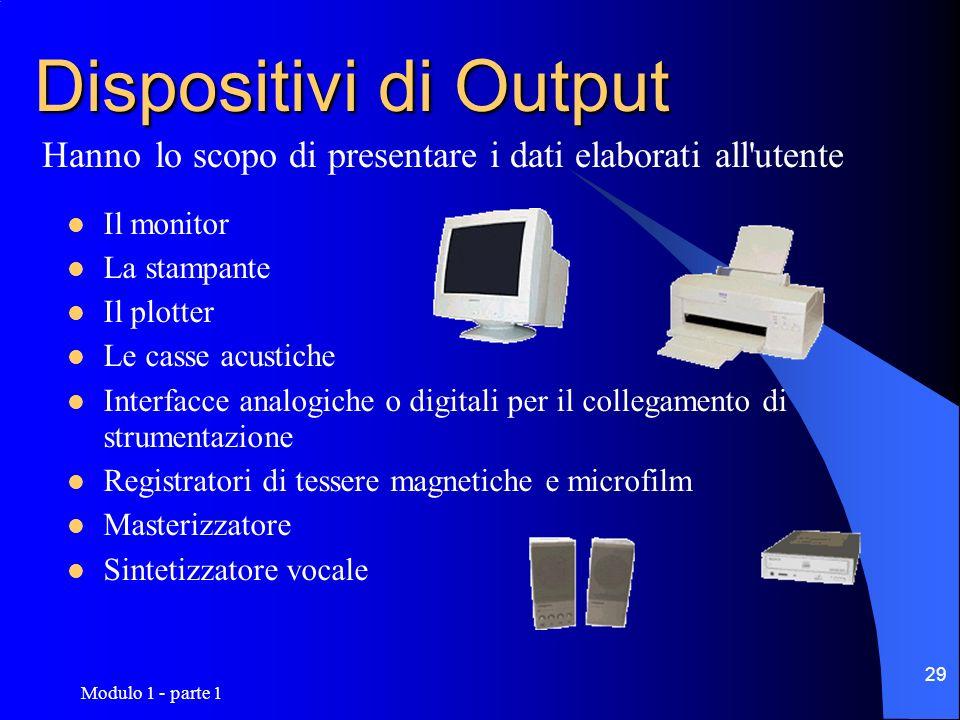 Modulo 1 - parte 1 29 Dispositivi di Output Il monitor La stampante Il plotter Le casse acustiche Interfacce analogiche o digitali per il collegamento