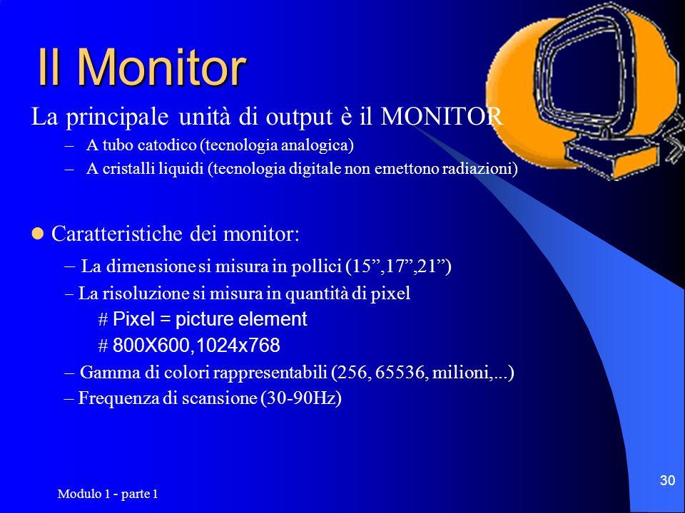 Modulo 1 - parte 1 30 Il Monitor La principale unità di output è il MONITOR –A tubo catodico (tecnologia analogica) –A cristalli liquidi (tecnologia d