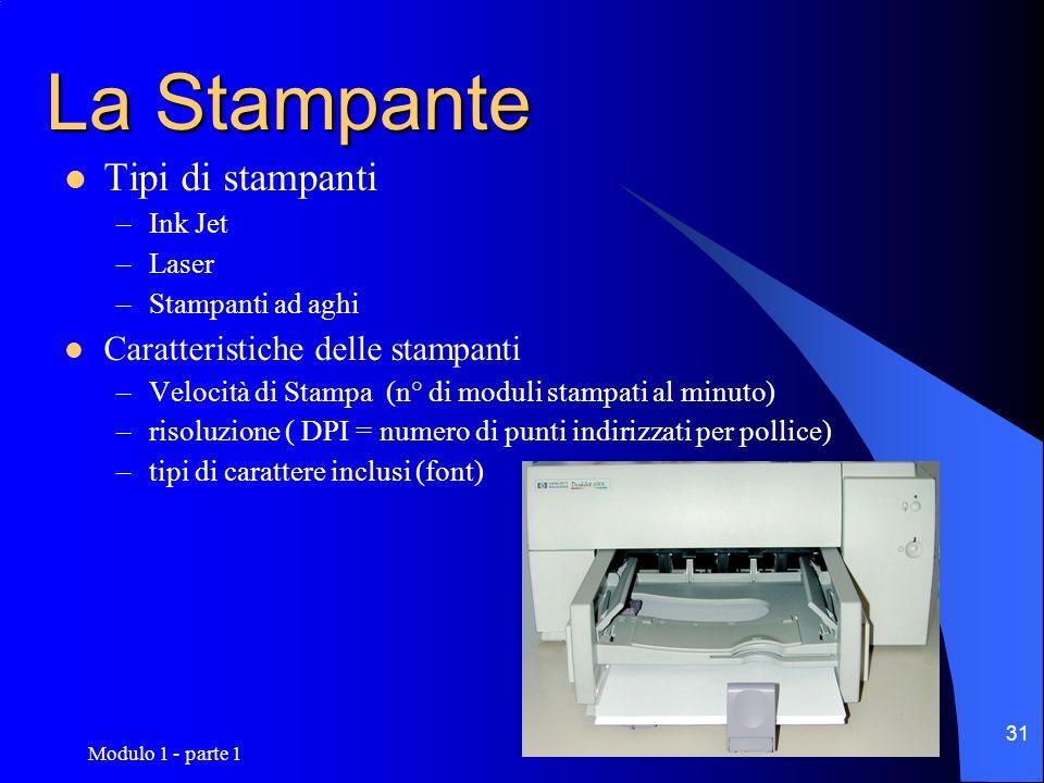 Modulo 1 - parte 1 31 La Stampante Tipi di stampanti –Ink Jet –Laser –Stampanti ad aghi Caratteristiche delle stampanti –Velocità di Stampa (n° di mod
