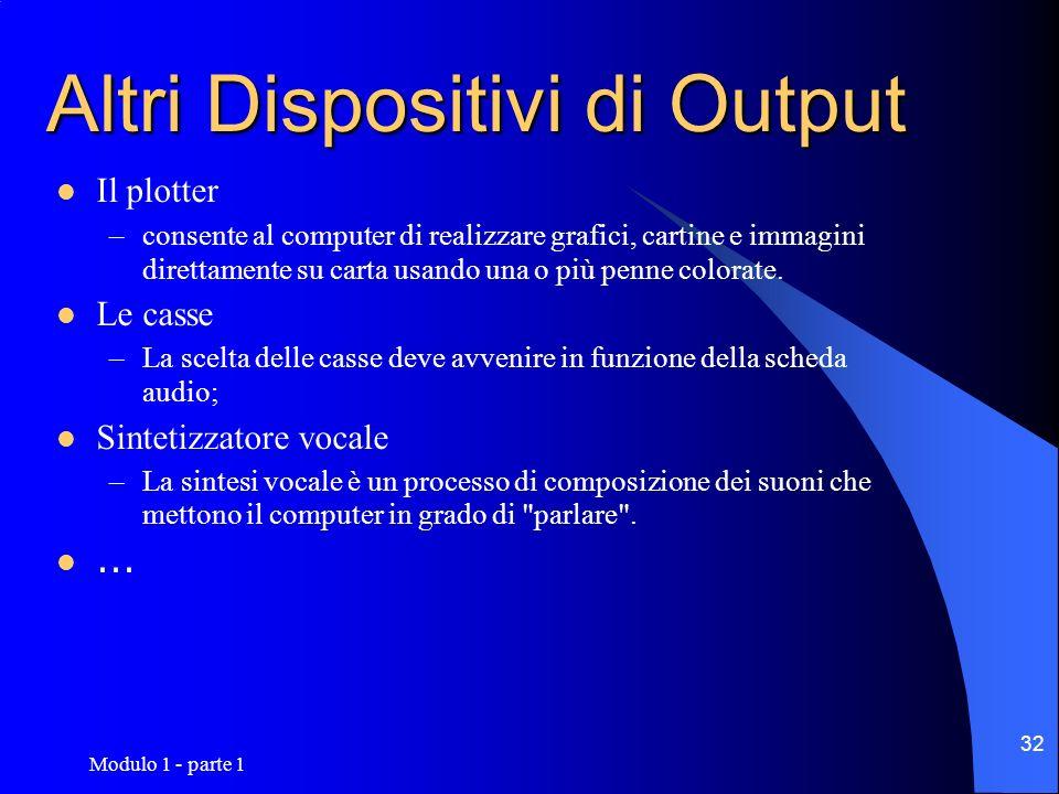 Modulo 1 - parte 1 32 Altri Dispositivi di Output Il plotter –consente al computer di realizzare grafici, cartine e immagini direttamente su carta usa