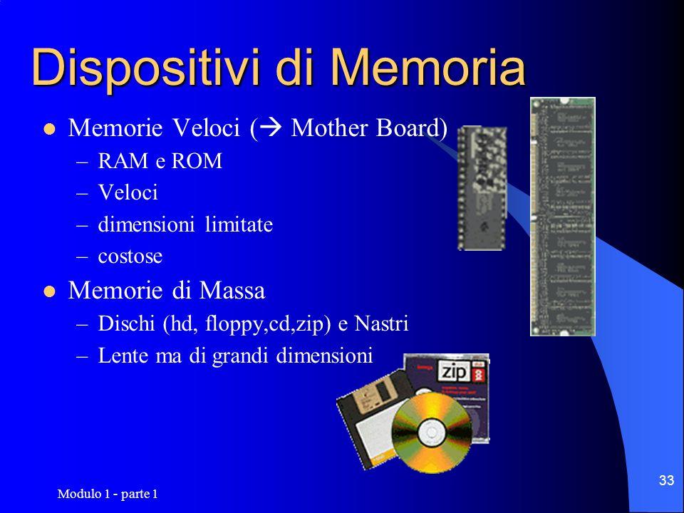 Modulo 1 - parte 1 33 Dispositivi di Memoria Memorie Veloci ( Mother Board) –RAM e ROM –Veloci –dimensioni limitate –costose Memorie di Massa –Dischi