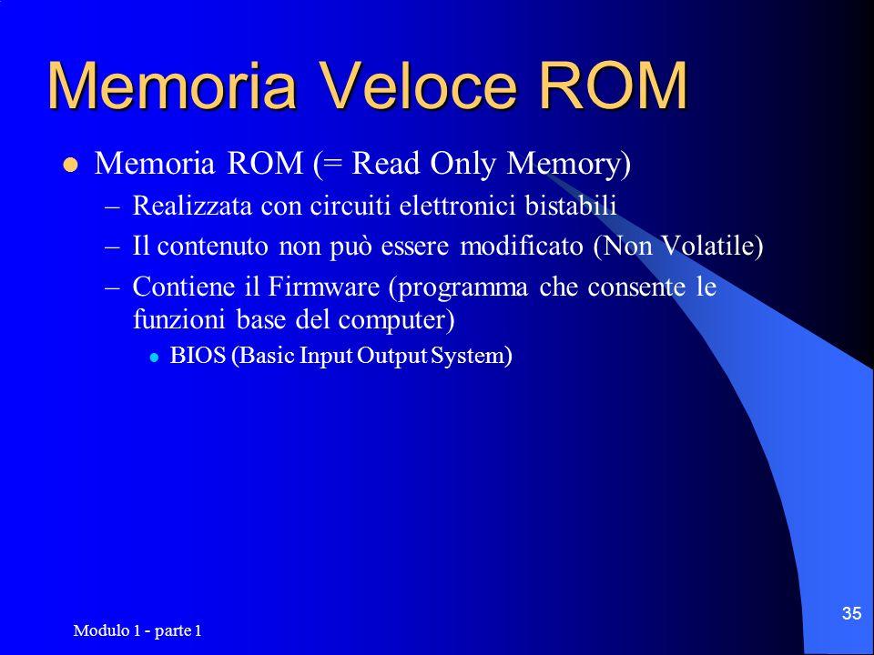 Modulo 1 - parte 1 35 Memoria Veloce ROM Memoria ROM (= Read Only Memory) –Realizzata con circuiti elettronici bistabili –Il contenuto non può essere