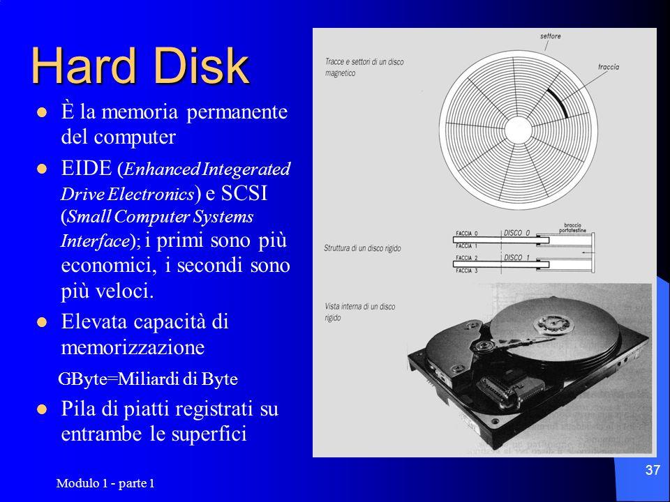 Modulo 1 - parte 1 37 Hard Disk È la memoria permanente del computer EIDE (Enhanced Integerated Drive Electronics ) e SCSI (Small Computer Systems Int