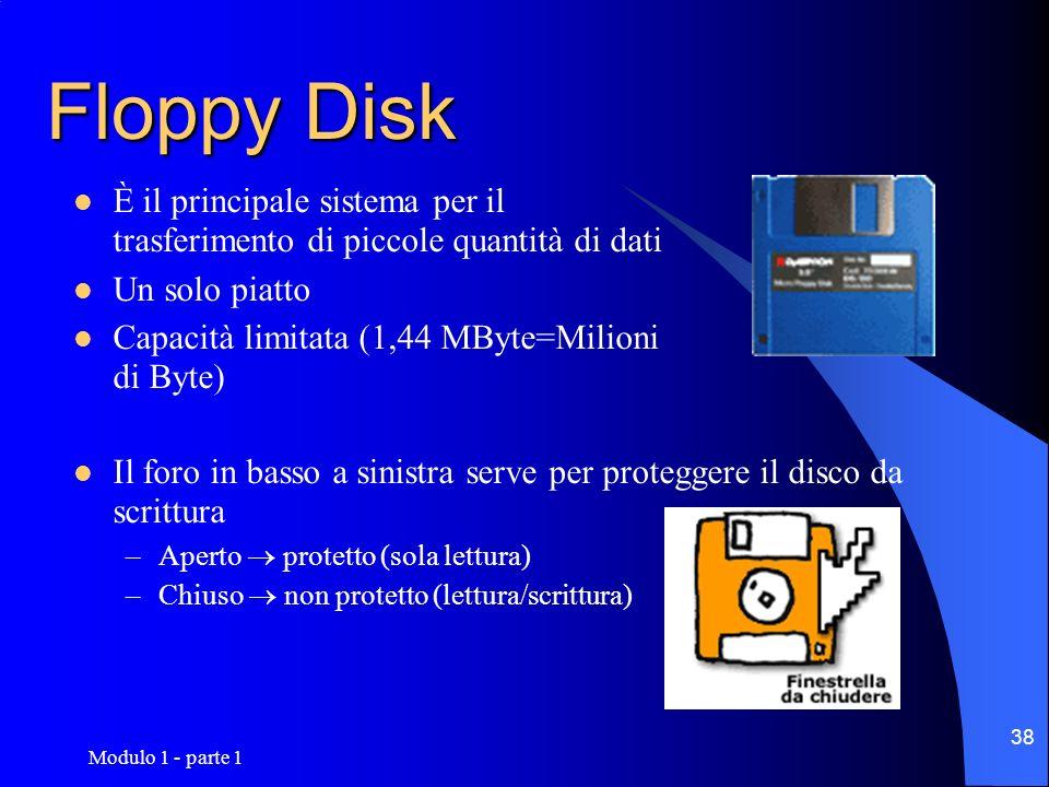Modulo 1 - parte 1 38 Floppy Disk È il principale sistema per il trasferimento di piccole quantità di dati Un solo piatto Capacità limitata (1,44 MByt