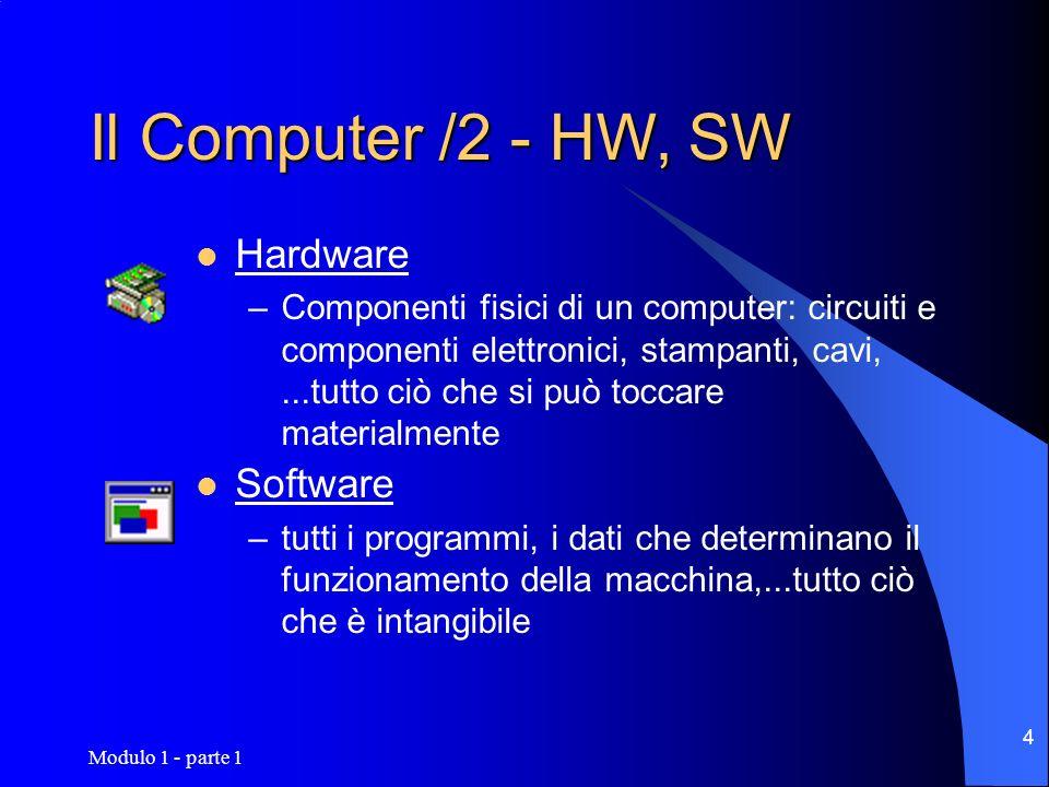 Modulo 1 - parte 1 55 Sviluppo del Software Fasi dello sviluppo: Analisi del Problema Rappresentazione Simbolica (Logica) Programmazione (C, Visual Basic, Java,…) Linguaggio Macchina Interpretato Compilato Test e Validazione Messa in esercizio