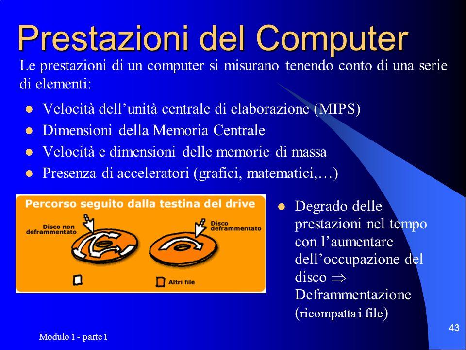 Modulo 1 - parte 1 43 Prestazioni del Computer Velocità dellunità centrale di elaborazione (MIPS) Dimensioni della Memoria Centrale Velocità e dimensi