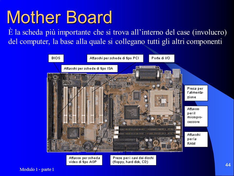 Modulo 1 - parte 1 44 Mother Board È la scheda più importante che si trova allinterno del case (involucro) del computer, la base alla quale si collega