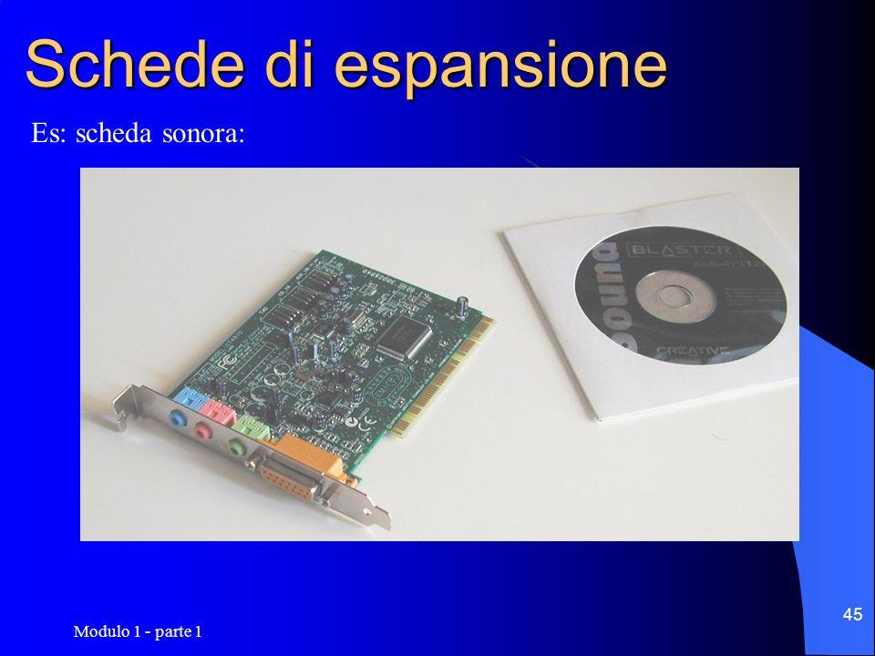 Modulo 1 - parte 1 45 Schede di espansione Es: scheda sonora: