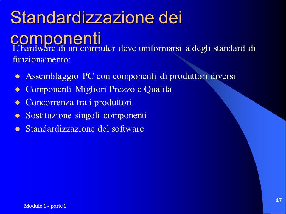 Modulo 1 - parte 1 47 Standardizzazione dei componenti Assemblaggio PC con componenti di produttori diversi Componenti Migliori Prezzo e Qualità Conco