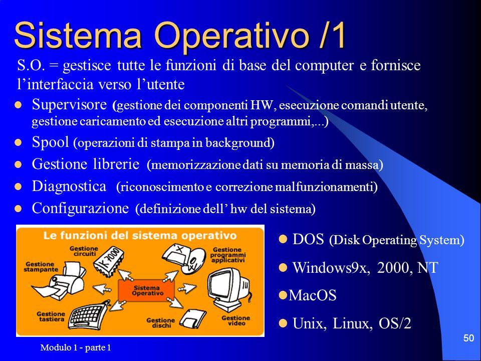 Modulo 1 - parte 1 50 Sistema Operativo /1 Supervisore (gestione dei componenti HW, esecuzione comandi utente, gestione caricamento ed esecuzione altr