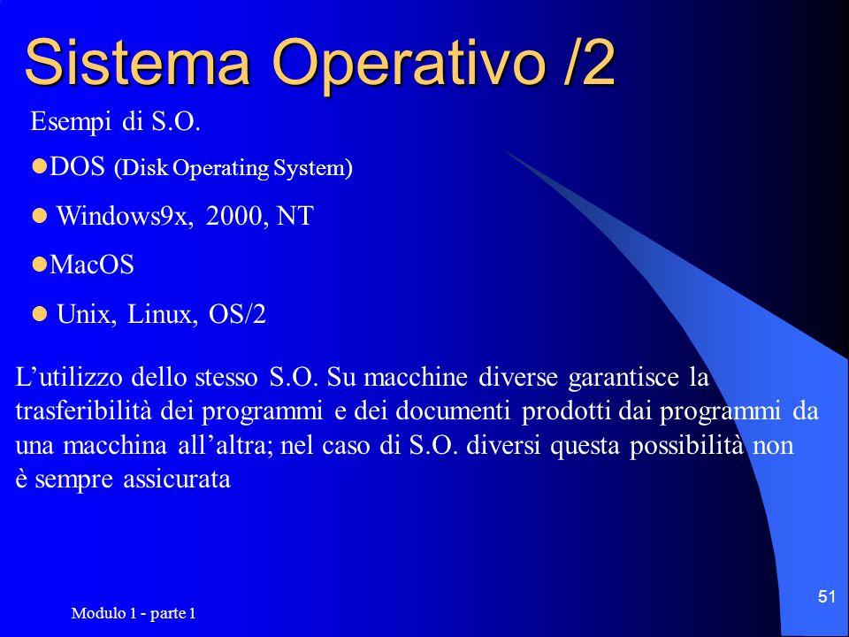 Modulo 1 - parte 1 51 Sistema Operativo /2 Esempi di S.O. DOS (Disk Operating System) Windows9x, 2000, NT MacOS Unix, Linux, OS/2 Lutilizzo dello stes