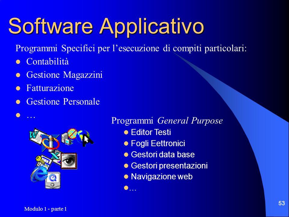 Modulo 1 - parte 1 53 Software Applicativo Programmi Specifici per lesecuzione di compiti particolari: Contabilità Gestione Magazzini Fatturazione Ges