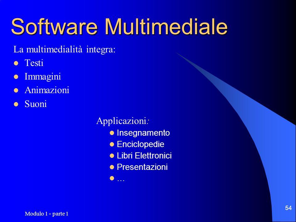 Modulo 1 - parte 1 54 Software Multimediale La multimedialità integra: Testi Immagini Animazioni Suoni Applicazioni: Insegnamento Enciclopedie Libri E