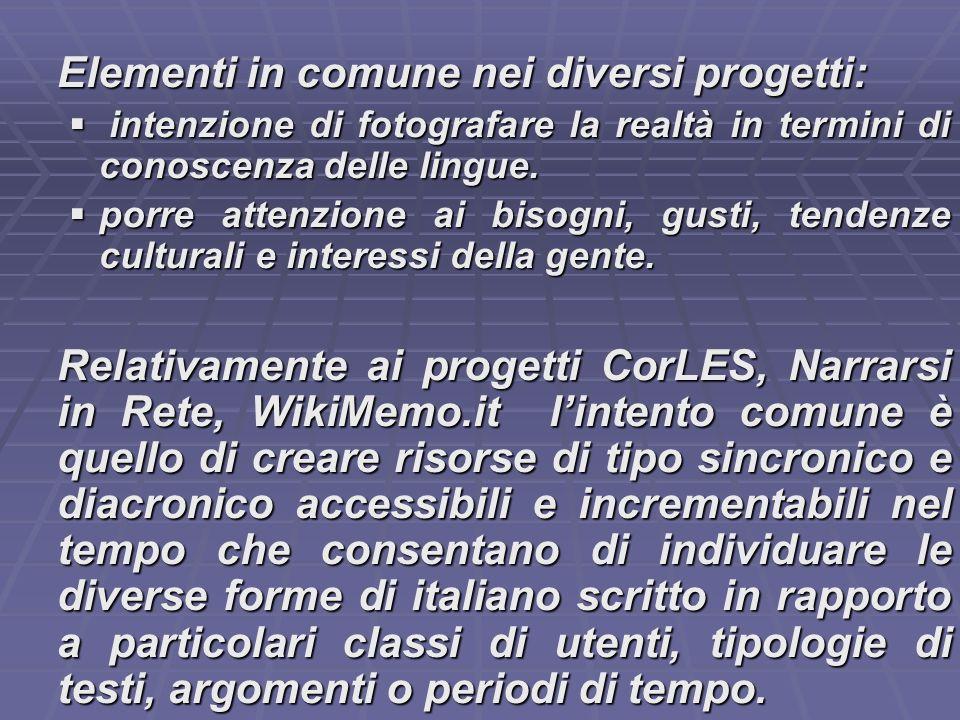 Elementi in comune nei diversi progetti: intenzione di fotografare la realtà in termini di conoscenza delle lingue.