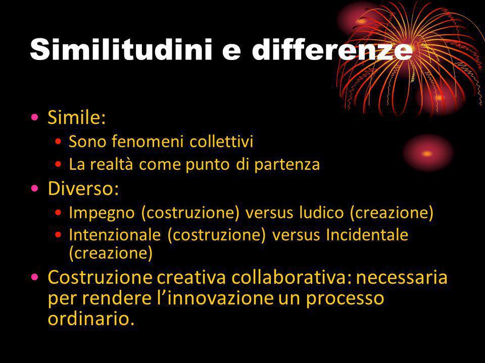 Similitudini e differenze Simile: Sono fenomeni collettivi La realtà come punto di partenza Diverso: Impegno (costruzione) versus ludico (creazione) I