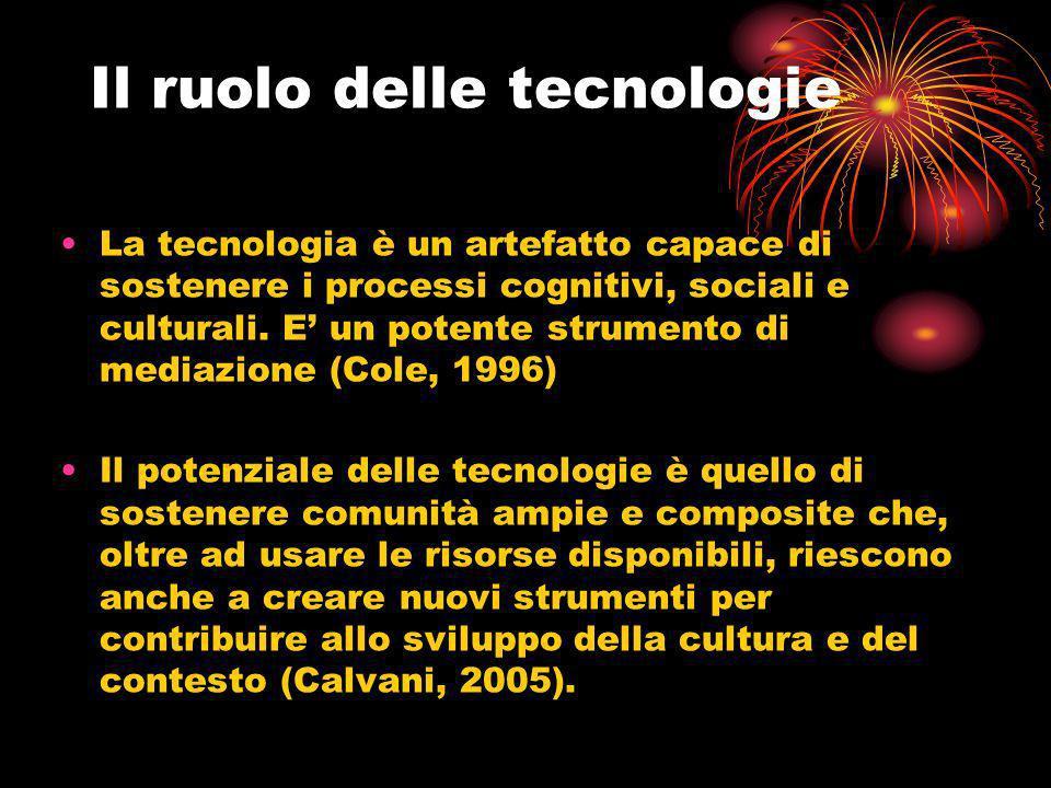 Il ruolo delle tecnologie La tecnologia è un artefatto capace di sostenere i processi cognitivi, sociali e culturali. E un potente strumento di mediaz
