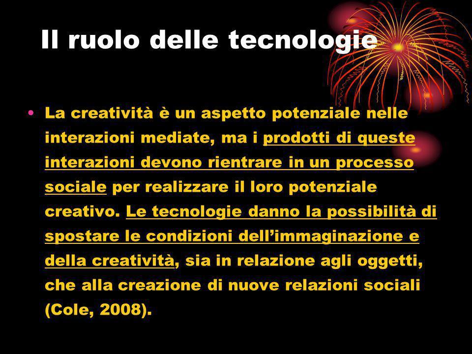 Il ruolo delle tecnologie La creatività è un aspetto potenziale nelle interazioni mediate, ma i prodotti di queste interazioni devono rientrare in un