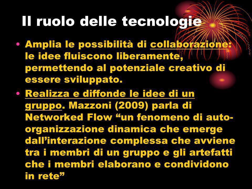 Il ruolo delle tecnologie Amplia le possibilità di collaborazione: le idee fluiscono liberamente, permettendo al potenziale creativo di essere svilupp