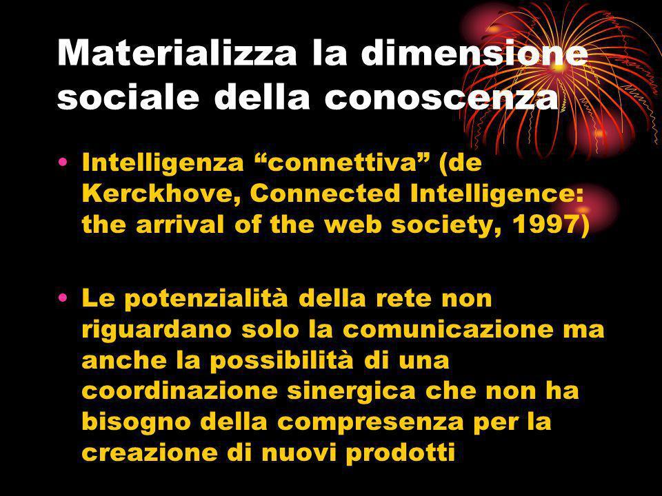 Intelligenza connettiva (de Kerckhove, Connected Intelligence: the arrival of the web society, 1997) Le potenzialità della rete non riguardano solo la