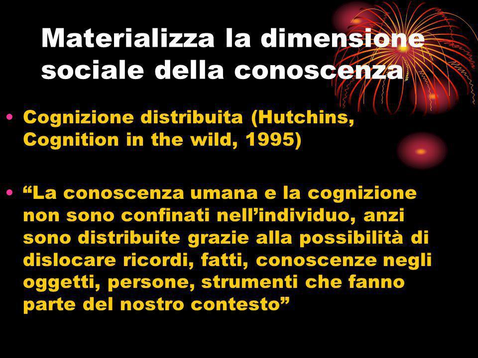 Cognizione distribuita (Hutchins, Cognition in the wild, 1995) La conoscenza umana e la cognizione non sono confinati nellindividuo, anzi sono distrib