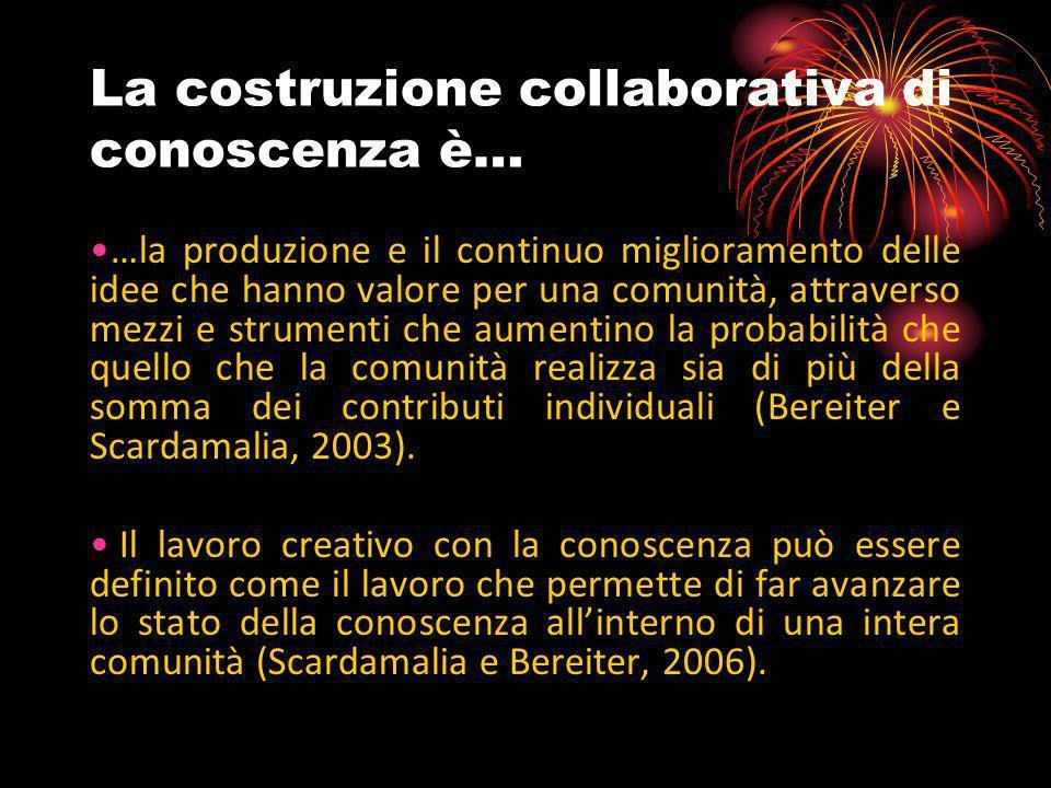 La costruzione collaborativa di conoscenza è… …la produzione e il continuo miglioramento delle idee che hanno valore per una comunità, attraverso mezz