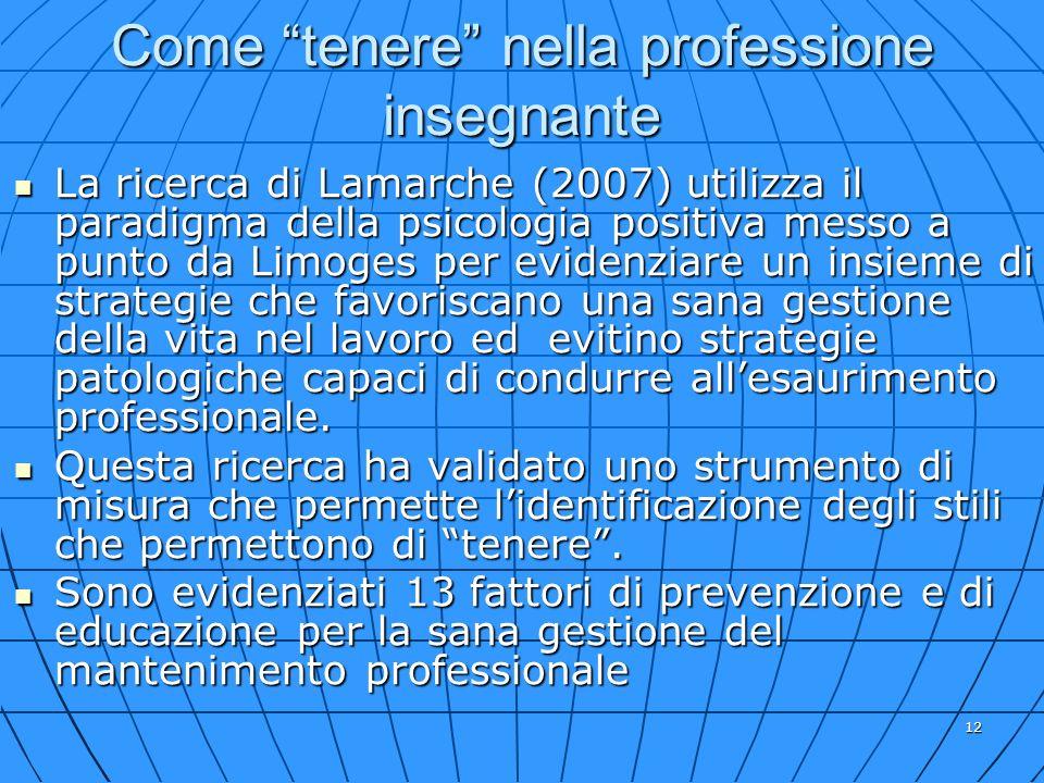 12 Come tenere nella professione insegnante La ricerca di Lamarche (2007) utilizza il paradigma della psicologia positiva messo a punto da Limoges per