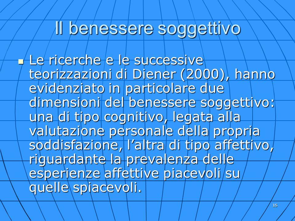 15 Il benessere soggettivo Le ricerche e le successive teorizzazioni di Diener (2000), hanno evidenziato in particolare due dimensioni del benessere s