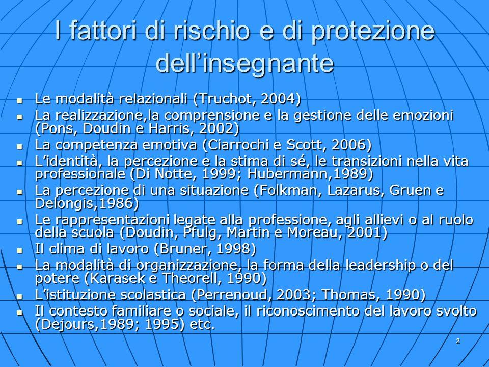 2 I fattori di rischio e di protezione dellinsegnante Le modalità relazionali (Truchot, 2004) Le modalità relazionali (Truchot, 2004) La realizzazione