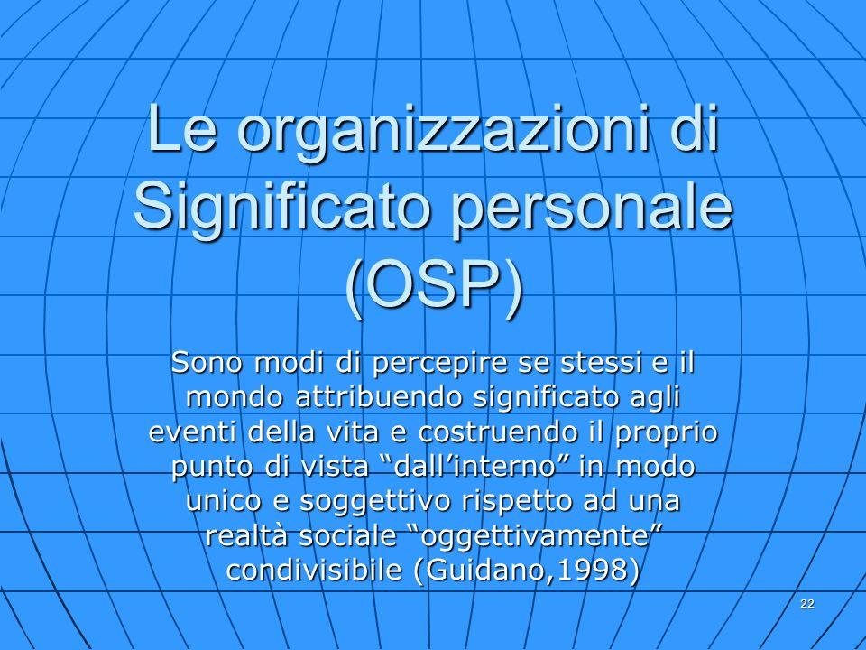 22 Le organizzazioni di Significato personale (OSP) Sono modi di percepire se stessi e il mondo attribuendo significato agli eventi della vita e costr