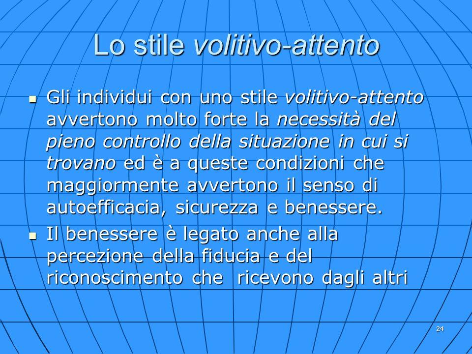 24 Lo stile volitivo-attento Gli individui con uno stile volitivo-attento avvertono molto forte la necessità del pieno controllo della situazione in c