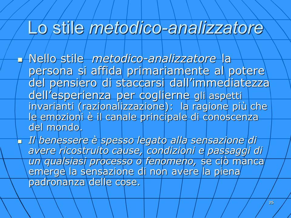 25 Lo stile metodico-analizzatore Nello stile metodico-analizzatore la persona si affida primariamente al potere del pensiero di staccarsi dallimmedia