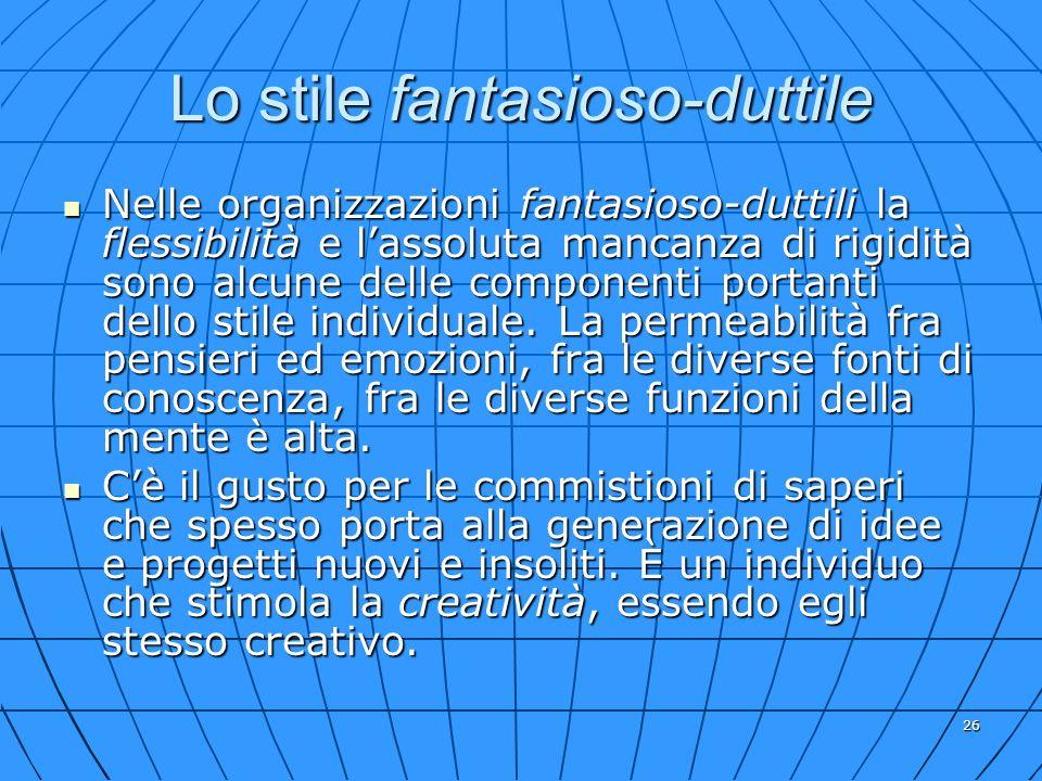 26 Lo stile fantasioso-duttile Nelle organizzazioni fantasioso-duttili la flessibilità e lassoluta mancanza di rigidità sono alcune delle componenti p