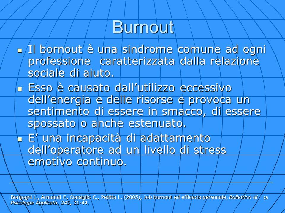 28 Il bornout è una sindrome comune ad ogni professione caratterizzata dalla relazione sociale di aiuto. Il bornout è una sindrome comune ad ogni prof