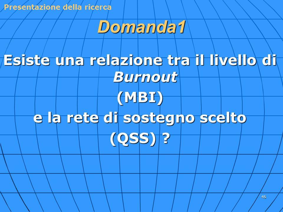 45 Domanda1 Esiste una relazione tra il livello di Burnout (MBI) e la rete di sostegno scelto (QSS) ? Presentazione della ricerca