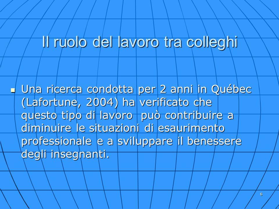 6 Il ruolo del lavoro tra colleghi Una ricerca condotta per 2 anni in Québec (Lafortune, 2004) ha verificato che questo tipo di lavoro può contribuire